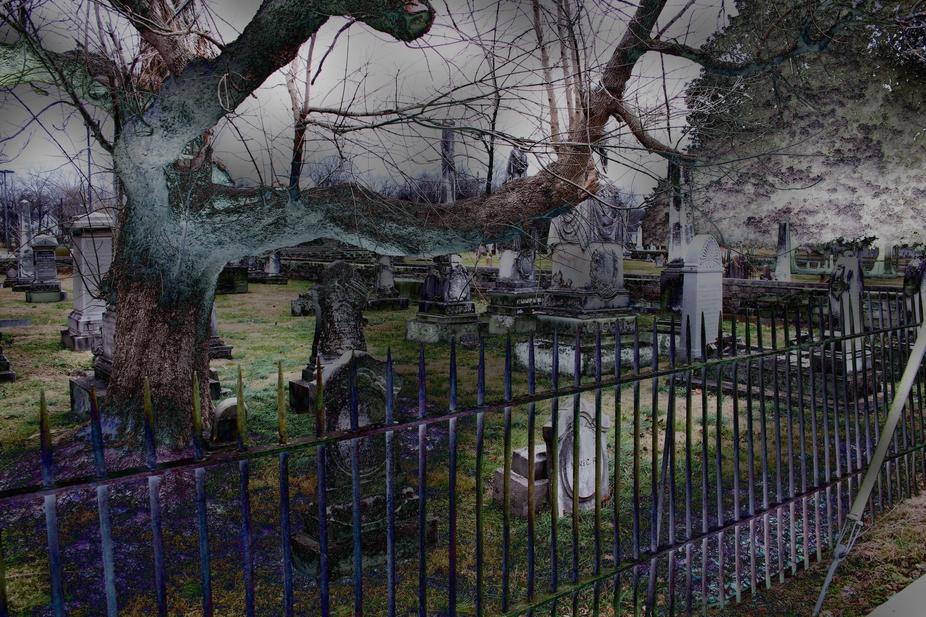 eerie cemetery