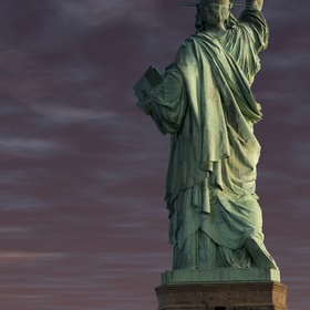 Statue of Liberty in early eveing storm