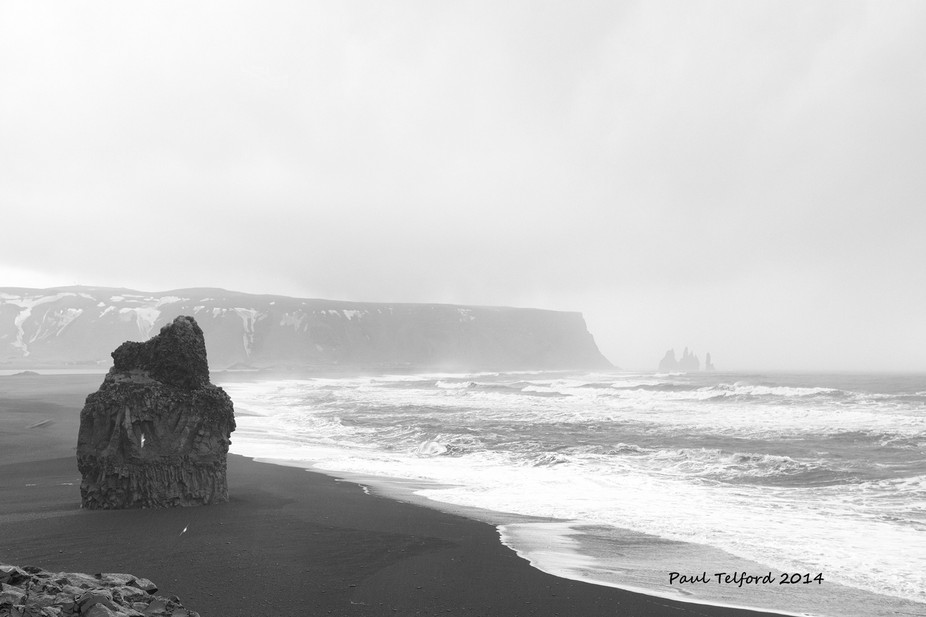 A distant view of the rocks at Vik iceland