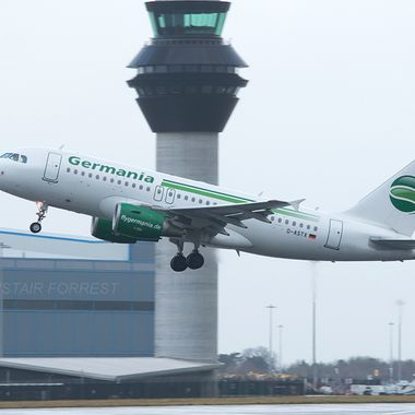 Germania Airlines A319 departing Manchester Airport UK