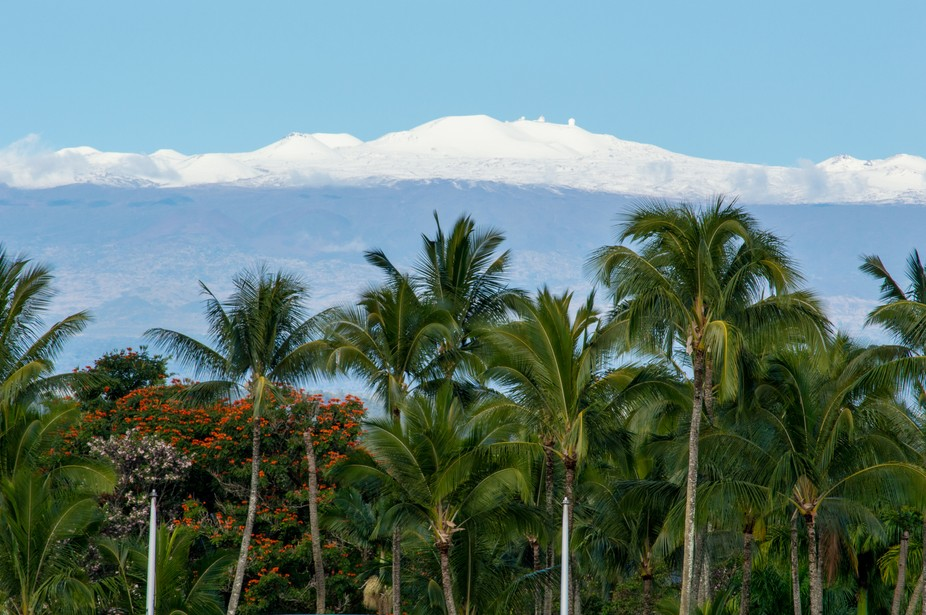 Snow covered summit of Mauna Kea. View from downtown Hilo, Hawaii.  I Love Hilo