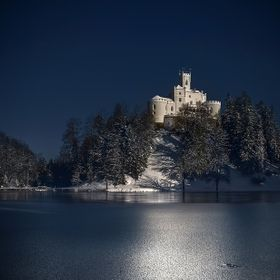 Romantic medieval castle Trakoscan on frozen lake