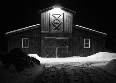 Snowy Barn at Night