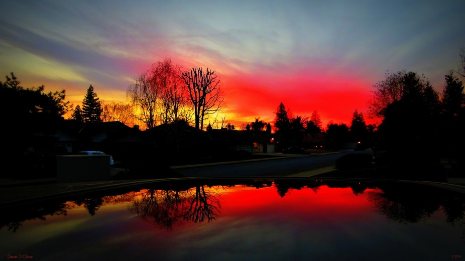 SUNSET FEB 2014 BAKERSFIELD CALIFORNIA USA... SURREAL TO SAY THE LEAST.