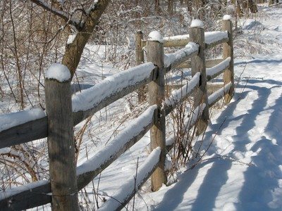 Winter Wooden Fence