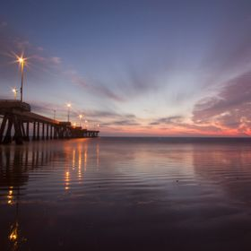 2-minute exposure of a sunset at the pier in venice, ca. the sand at low tide always makes for a great reflection!