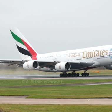 Emirate A380 Departing Manchester(UK) Airport bound for Dubai