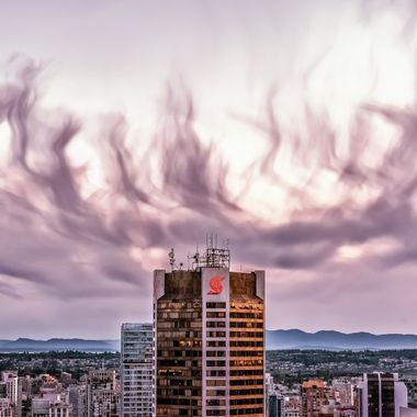 Probably one of the most photographed vistas of Vancouver but for me they turned on this incredible cloud formation and sunset. The glass didn't even detract from the light show!