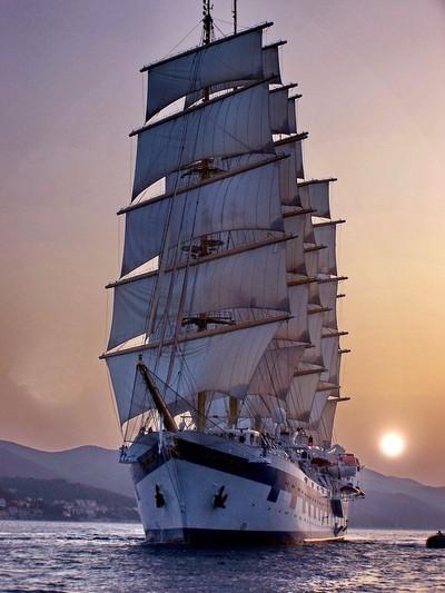 Royal Clipper at sunset