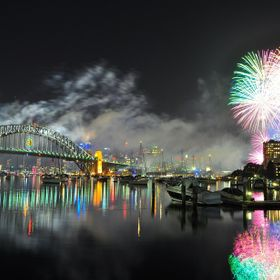 New Year's fireworks on Sydney Harbour.