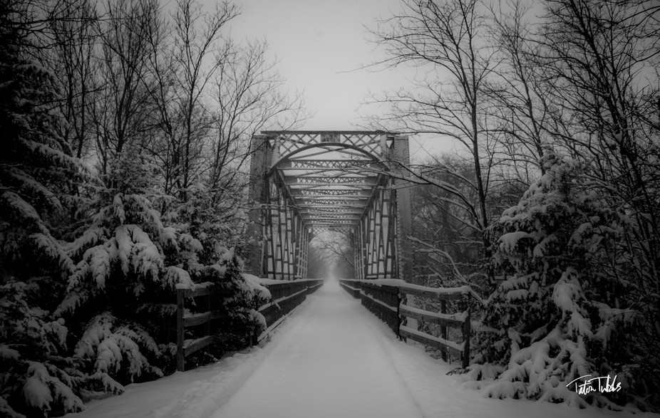 This bridge was once a railroad trestle but has now been converted to a walking bridge along the ...