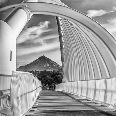 Framed by the magnificent Te Rewa Rewa Bridge along the cycle/walkway in New Plymouth, NZ