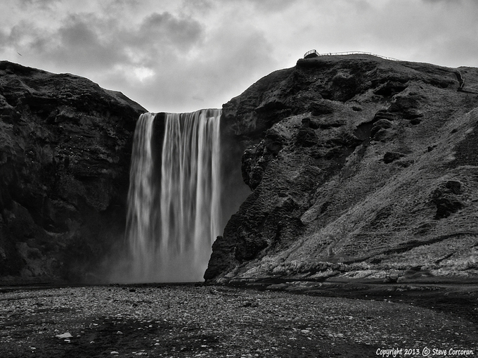 Skogarfoss by SteveCorcoran - Depth In Black And White Photo Contest