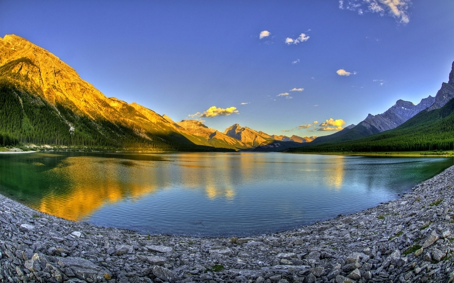 Sunset over a lake in Alberta