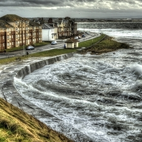 A stormy high tide in Troon, South Ayrshire, Scotland