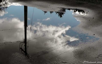 reflections of clouds in puddle