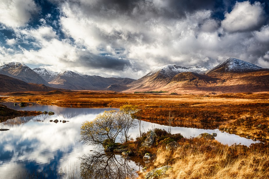 Trying to capture the intense rich browns of Rannoch Moor and the peaks beyond with the first dus...