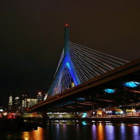 The Leonard P. Zakim Bunker Hill Memorial Bridge in Boston at night.