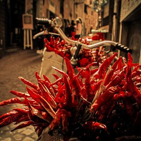 When I saw this bike full of red hot chilly peppers, I just knew its going to be my new photo... :D