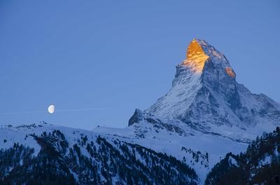 Sunrise and Setting Moon at the Matterhorn