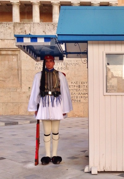 Greek guard at the tomb of the unknown soldier in Athens