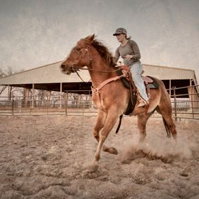 My sister riding her horse Reno