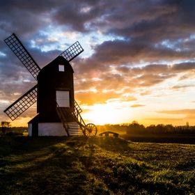 a winter sunset at pitstone windmill, buckinghamshire uk