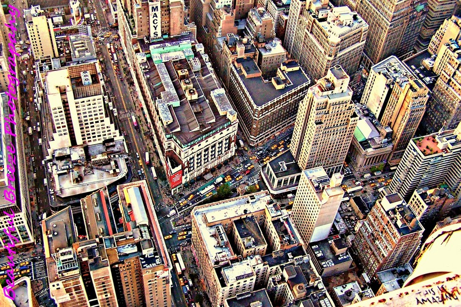 A downward view on New York City.