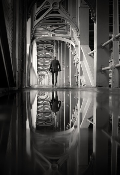 mirror man b&w