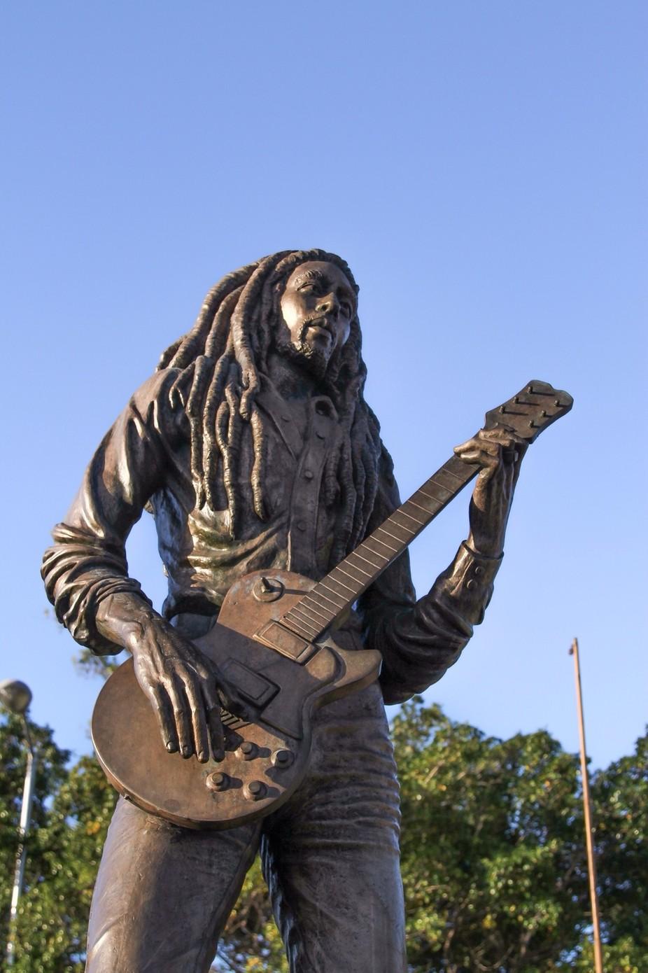 Statue of  reggae legend Bob Marley in park in JA