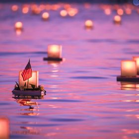 Hawaii Memorial day lantern floating ceremony. These are all natural colors...the sunsets in Hawaii really just are that colorful. I went to get ...
