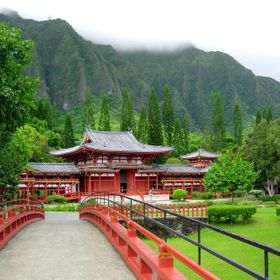 The picture was taken in Hawaii in the Valley of the Temples Memorial Park.