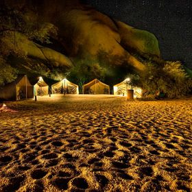 Camping in Namibia at Spitskoppe.