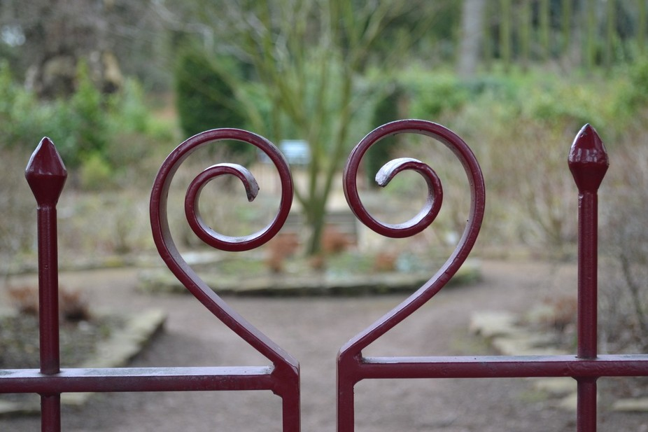 Tops of gates shaped to make a heart