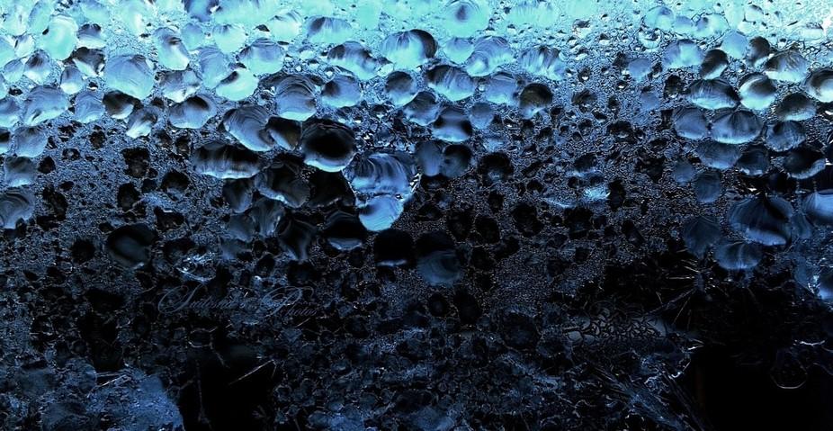Frost on glass door