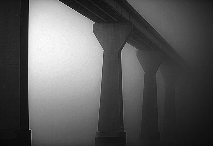 This is the thick fog covering the Bridge going over the Patuxent River in MD