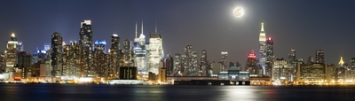 NYC Skyline With Full Moon