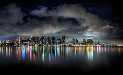 San Diego waterfront at night