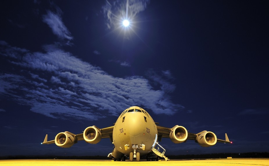 A Royal Canadian Air Force C-177 Globemaster aircraft sits on the tarmac of Iloilo city airport d...