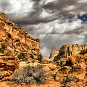 Sandstone cliffs and dramatic clouds at Capital Reef National Park. Utah