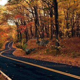 An autumn road in upstate New York.