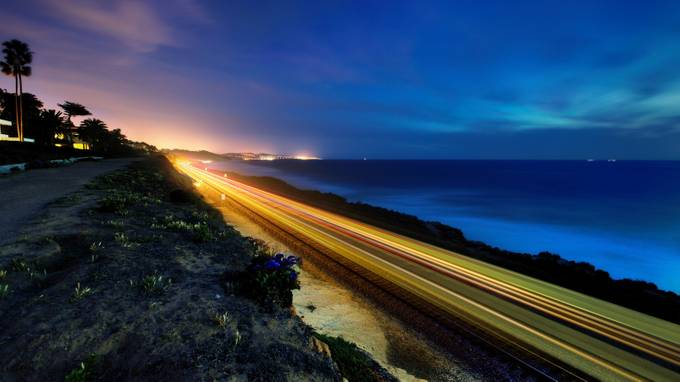 Train Streaking by christopherpayne - Composing with Diagonals Photo Contest
