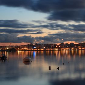 The harbor at Seixal, Portugal. Photo taken around sunset with a 1/25  shutter speed.