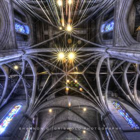 The beautiful ceiling of Grace Cathedral in San Francisco, California.