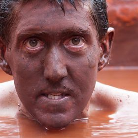 Hot red mud bath in Banos Ecuador.