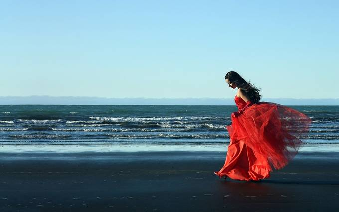Woman in Red by Jonrunar - It Is Red Photo Contest