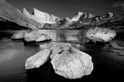 Temple Peak and Deep Lake monochrome