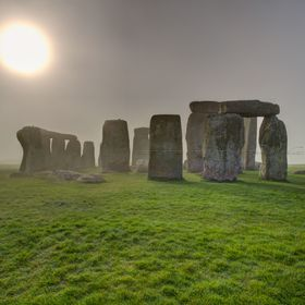An excellent sun rise over Stonehenge UK. A world heritage site. Three imaged tone mapped on 10.04.2014.