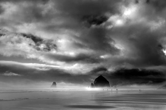Haystack Canon Beach - Oregon by tq1962 - Awesomeness In Black And White Photo Contest