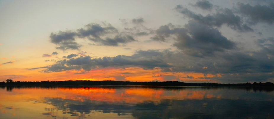 Sunset on the lake at Stoney Creek metro park in Shelby Michigan